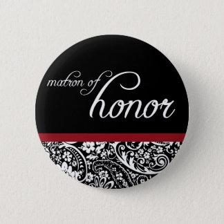 Damask Beauty Matron of Honor Button