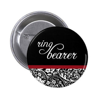 Damask Beauty Ring Bearer Butoon Pinback Button