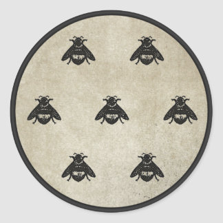 Damask Bees Classic Round Sticker