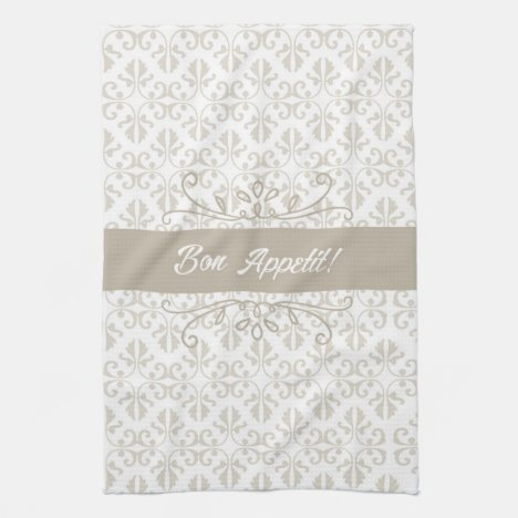 Damask beige bon appetit tea kitchen towel
