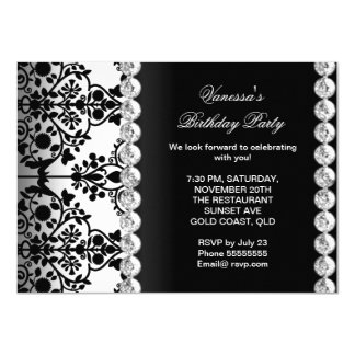 Damask Birthday Party Silver Black White Floral 4.5x6.25 Paper Invitation Card