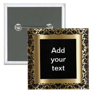 Damask Black and Gold | DIY Text 2 Inch Square Button