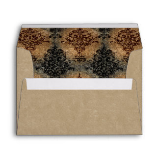 Damask Black and Rust on Tan Gray Envelope