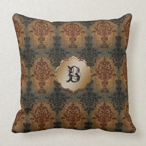 Vintage Victorian Pillows : Damask Black and Rust Vintage Victorian Throw Pillow Zazzle