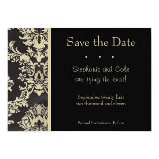 Damask Black and Tan Card