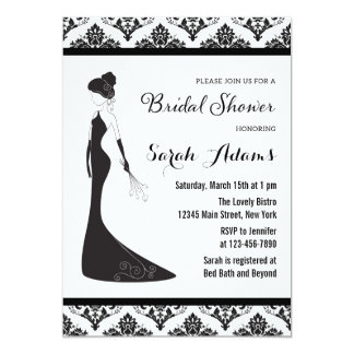5 000 black and white bridal shower invitations black for Black and white bridal shower invitations