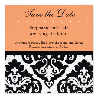 "Damask Black and White 5.25"" Square Invitation Card"