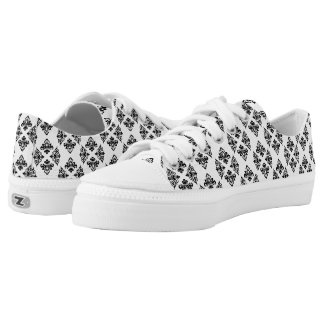 Damask Black and White Pattern Low-Top Sneakers
