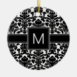 Damask Black and White Pattern with Monogram Ceramic Ornament