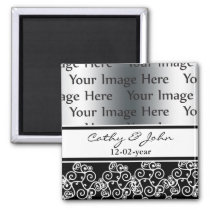 damask black and white photo Save the date magnet