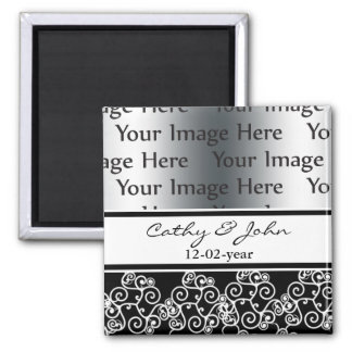damask black and white photo Save the date magnet Magnet
