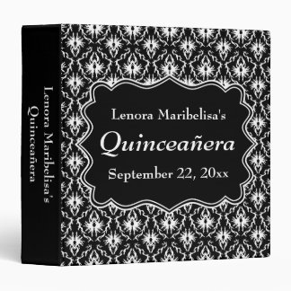 Damask Black and White Quinceanera 3 Ring Binder