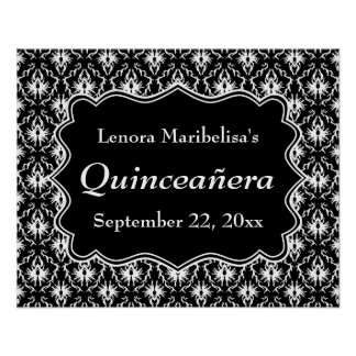 Damask Black and White Quinceanera Poster