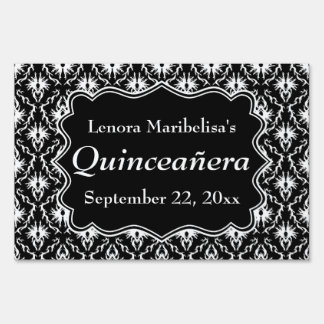 Damask Black and White Quinceanera Sign