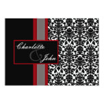 """damask black and white Save the date 5"""" X 7"""" Invitation Card"""