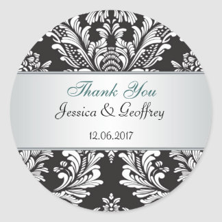 Damask black and  white Thank you Wedding Sticker