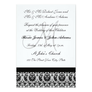 Damask black and white Wedding Invitation Personalized Announcement