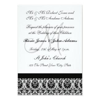 "Damask black and white Wedding Invitation 5"" X 7"" Invitation Card"