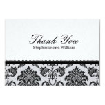 Damask Black and White Wedding Thank You Card
