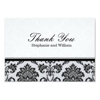 Damask Black and White Wedding Thank You Card