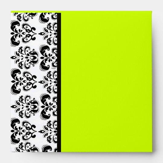 DAMASK ,black and yellow green Envelope