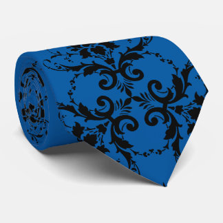 damask black blossom with king blue tie