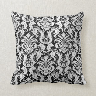 Damask Black Glitter Lux Silver Gray Monochromatic Throw Pillow