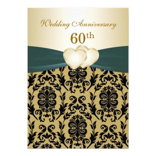 Damask black gold hearts 50th Wedding Anniversary Custom Announcement