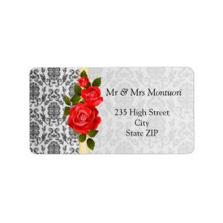 Damask black gray, red roses Return address Label