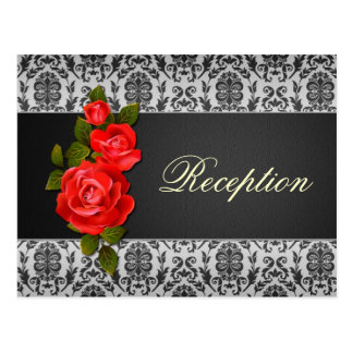 Damask black gray, red roses Wedding  Reception Postcard