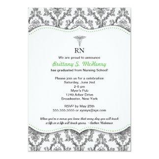 Damask Black green Nurse graduation RN BSN LPN Card