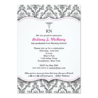Damask Black hot pink Nurse graduation RN BSN LPN 5x7 Paper Invitation Card