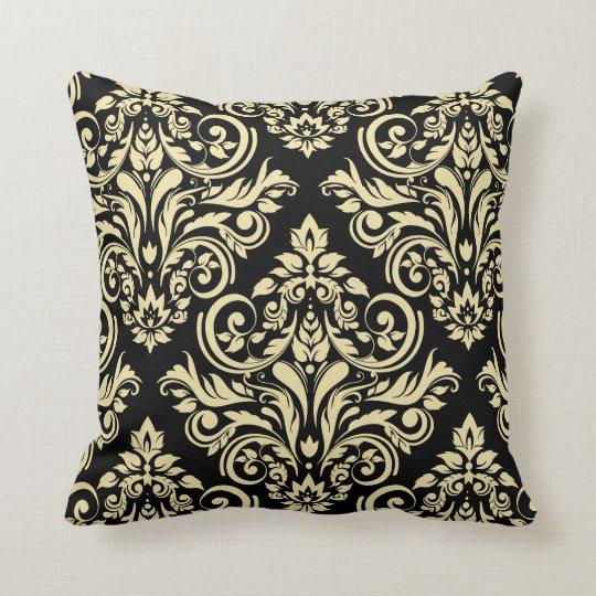 Damask Black Ivory Throw Pillow Zazzle Com