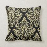 Damask - black ivory throw pillow
