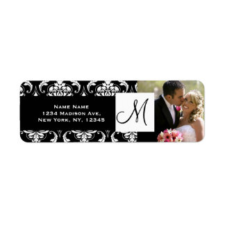 Damask Black Monogram Photo Wedding Address Labels