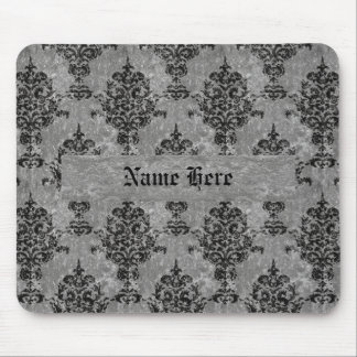 Damask Black on Faux Gray Stone Mouse Pad