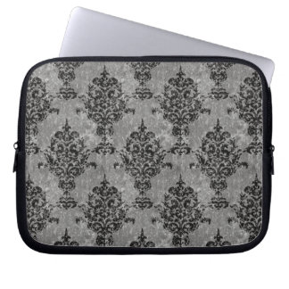 Damask Black on Gray Faux Stone Laptop Sleeve