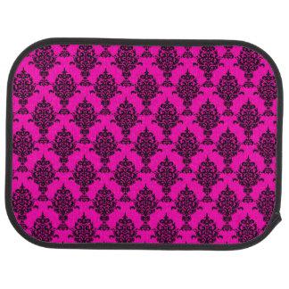 Damask Black on Pink Car Floor Mat