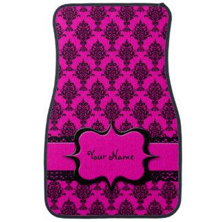 Damask Black on Pink Car Mat