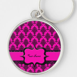 Damask Black on Pink Keychain