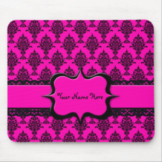 Damask Black on Pink Mouse Pad