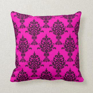 Damask Black on Pink Throw Pillow