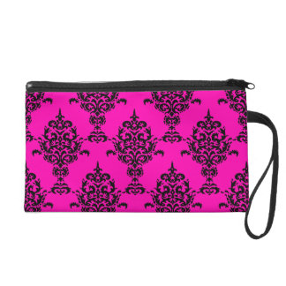 Damask Black on Pink Wristlet