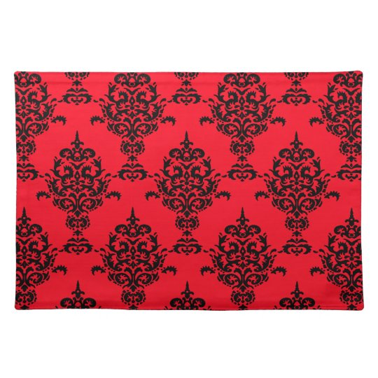 Damask Black on Red Placemat