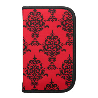 Damask Black on Red Organizers