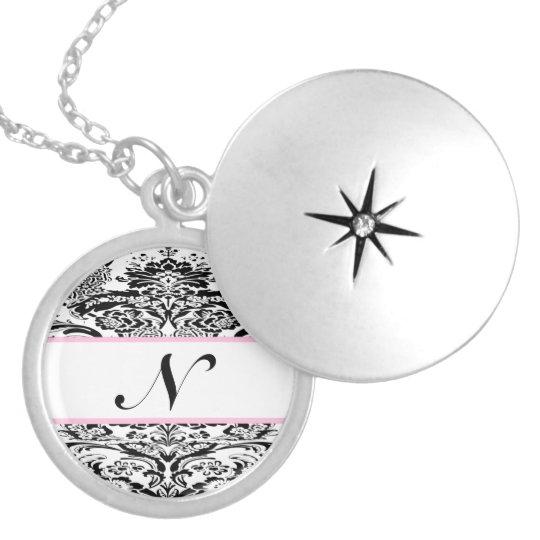 Damask Black & Pale Pink Bridesmaid gift Necklace
