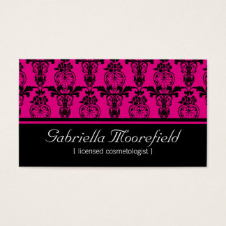 Damask Black Pink Cosmetologist Business Cards