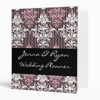 Damask Black Pink Wedding Planner or Recipe Bridal Binder