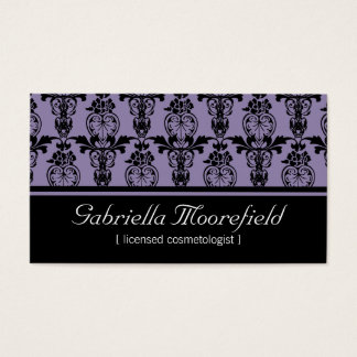 Damask Black Purple Cosmetologist Business Cards