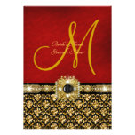"""Damask black red gold """"elegant wedding"""" personalized announcement"""